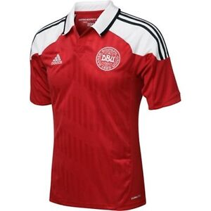 DENMARK 2012 HOME (2XL, XL, L, M) ADIDAS SH/SLV RED SOCCER FOOTBALL SHIRT JERSEY