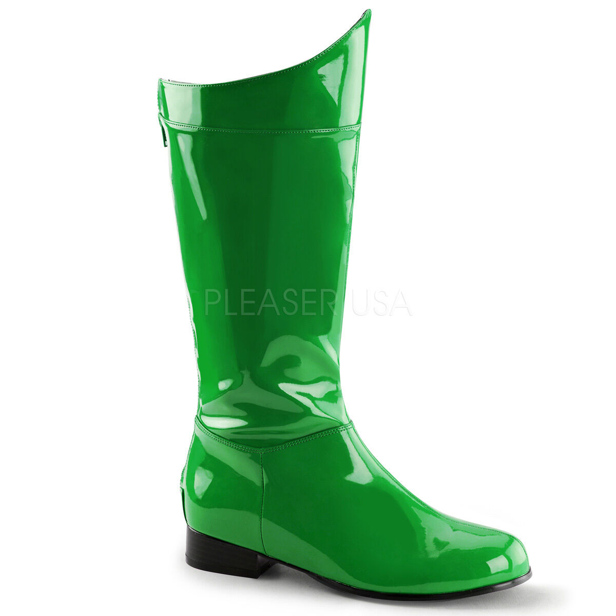 Green Patent Power Rangers 1960s Classic Robin Costume Mens Boots size 10 11 12