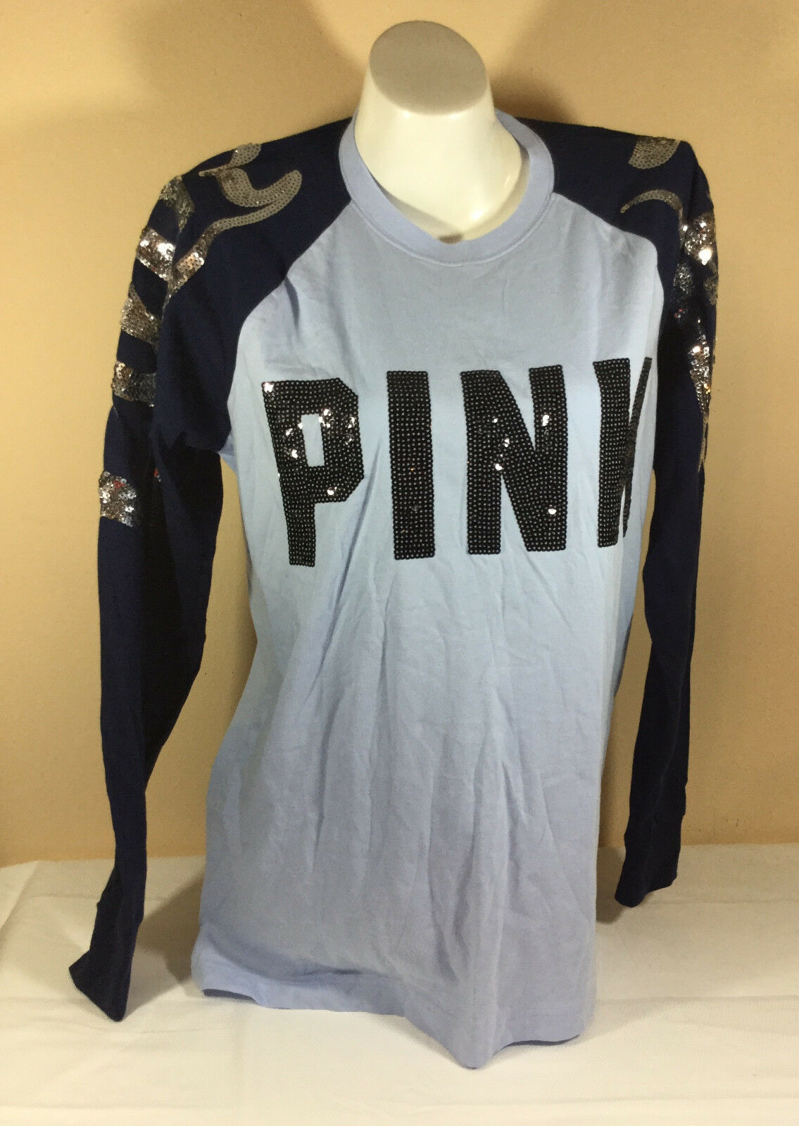 Rosa By Victorias Secret Rosa Sequins Long Sleeve Shirt Med Blau NWT N1889