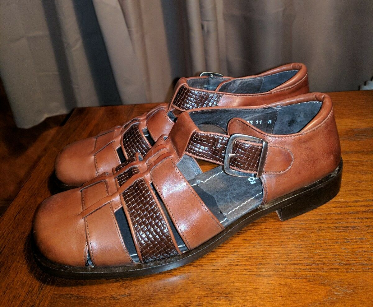 NEW PRONTO UOMO FIRENZE ITALY LEATHER WOVEN HAVANA RESORT SANDALS SHOES BROWN 11 Scarpe classiche da uomo