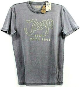 Lucky-Brand-Jeep-Spirit-Script-Logo-Gray-T-Shirt-Tee-4WD-4x4-Off-Road