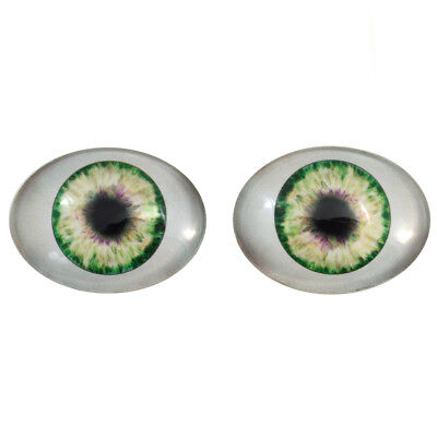 Big Doll Making Eye Cabs Flatback Large 30x40mm Oval Glass Eyes Set in Purple