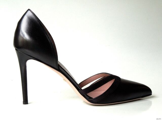 6a876e819a24 new  600 GUCCI black leather D Orsay pumps stiletto heels shoes 40 US 10  classy