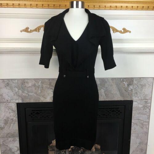 KAREN MILLEN 1 Black Military Trench Coat Knit Str