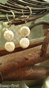 New-Natural-11-12mm-Double-White-Coin-Pearl-Earrings-Silver-Leverbacks-Dangle