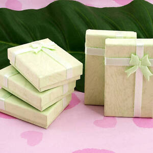 10X Green Jewelry Necklace Bracelet Watch Gift Case Box Lot with Bow Ribbon Chic