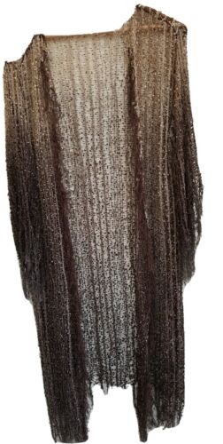 Open Weave Fringed Tunic Top Sheer Natural Shades S