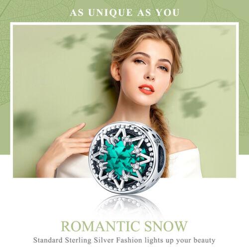 BAMOER Romantic snow 925 Sterling silver Charm With Blue CZ Glass Fit bracelet