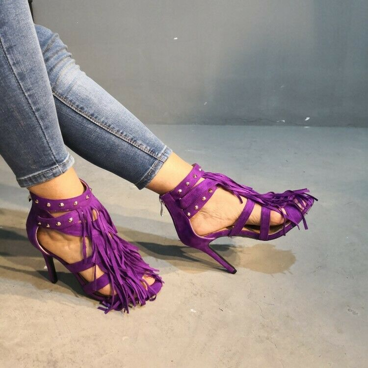 Womens High Heels Sandals Tassels Rivets Hollow Out shoes Open Toe Party shoes