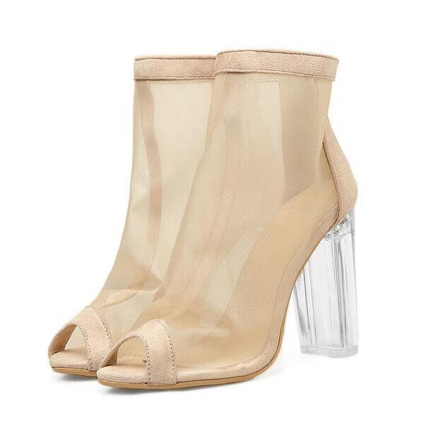 Sandali bottes estivi tacco quadrato 9.5 cm beige pelle sintetica eleganti 9700