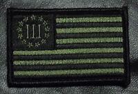 Three 3% Percenter Flag Olive 2nd Amendment Nra Flag Hook Patch