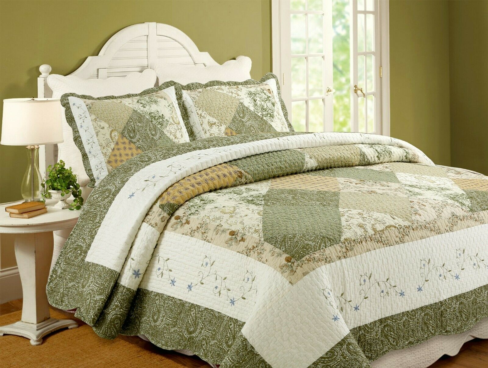 Cozy Line Home Fashions Floral Patchwork Green Beige Khaki Yellow Country 100 For Sale Online Ebay