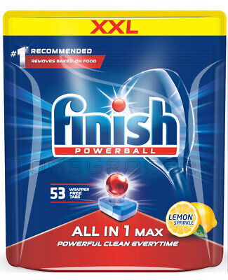 53 x Finish Powerball All in 1 Max Lemon Dishwasher Detergent Tabs Pods Pack | eBay