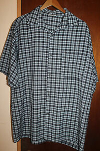 Cal-Top-Men-039-s-Blue-Plaid-Short-Sleeve-Button-Front-Shirt-2XL-XXL