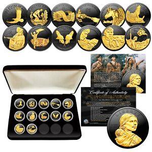 SACAGAWEA-DOLLAR-12-Coin-SET-BLACK-RUTHENIUM-w-24K-Gold-Highlights-MUST-SEE
