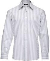 Zagiri Kml-2361 Take It Easy White Gray Stripes Dress Casual Shirt $145 Sz L