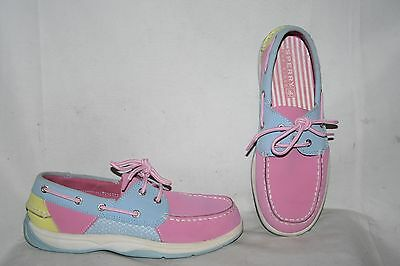 Sperry Top Sider Youth Girl Boat Deck Shoes Size 3.5 M Pink White Slip On