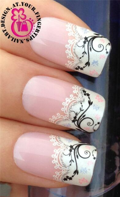 NAIL ART WHITE FRENCH WATER LACE TIPS SET GLITTER TRANSFERS STICKERS DECALS #525
