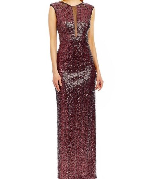 NICOLE MILLER ARTELIER rot Sequined Illusion-In Set Gown SZ 8