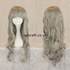 Long wavy curly cosplay wig with fringe in silver, UK seller, Charlie style