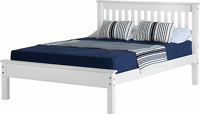 WHITE DOUBLE BED FRAME LOW FOOT END WOODEN BED SET