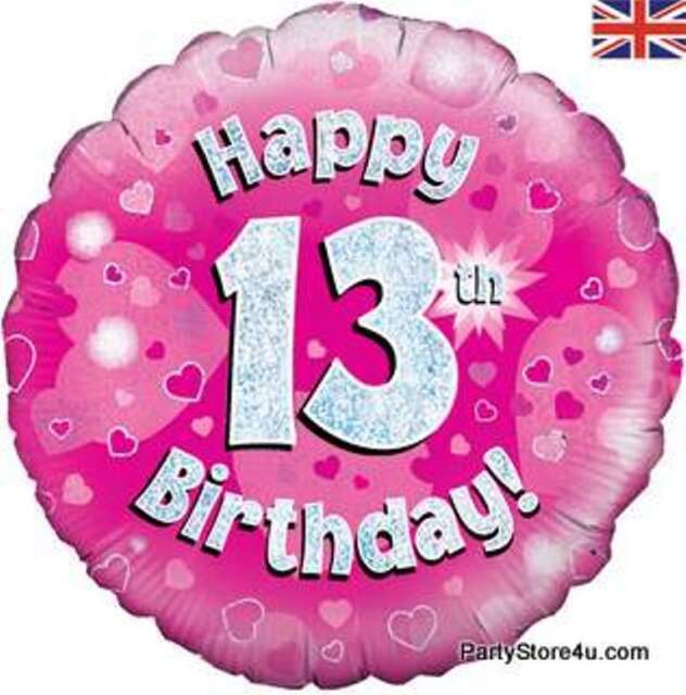 18 Foil Helium Balloons 13th 13 Teenager Birthday Balloon Girls