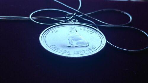 """Loup argenté du Canada 925 Lunette Pendentif sur un 22/"""" Italien Argent 925 Chaîne Serpent"""