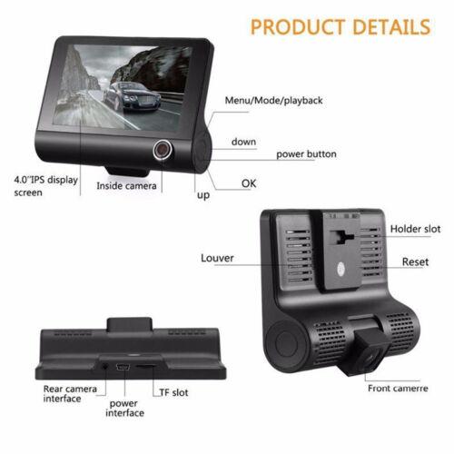 "4/"" 1080P HD 170° 3 Lens Car DVR Dash Cam G-sensor Recorder Rearview Camera HOT"
