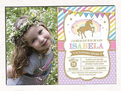UNICORN Party Invitation Pink Gold Rainbow Baby Girl First Birthday Invite Pony