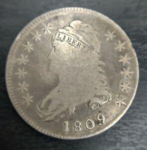 1809 Capped Bust Half Dollar O-110 R4+ 50c XXX Edge Cracked Die VG Very Good