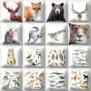 UK/_ Fox Bear 3D Animal Print Throw Pillow Case Home Cushion Cover Home Decor Nov
