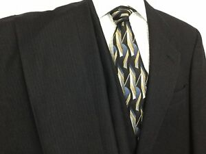 Austin Reed Suit Regent Street Sz 40r Black Stripes 2 Button Pleated 32 X 32 Ebay