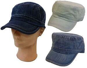 100% Cotton Cadet Box Cap Army Military Fashion Castro Blue Jean Hat ... 68c93194d02