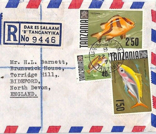 BQ324 1976 Tanzania FISH ISSUE FRANKING Commercial Registered Airmail Cover PTS