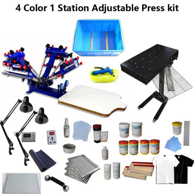 5b249e1d Screen Printing 4 Color Press Kit Adjustable Printer/ Flash Dryer/  Exposure/Tool