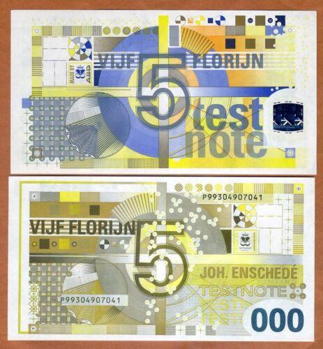 Test Note UNC Enschedé 5 Florinjn Netherlands Royal Joh