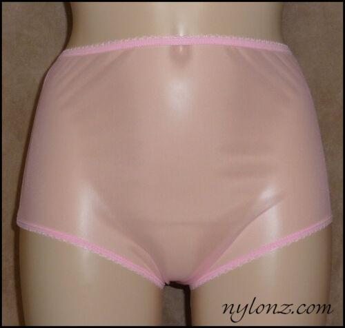 Vintage Style Completely Sheer Transparent Nylon FULL CUT Panties PINK NYLONZ