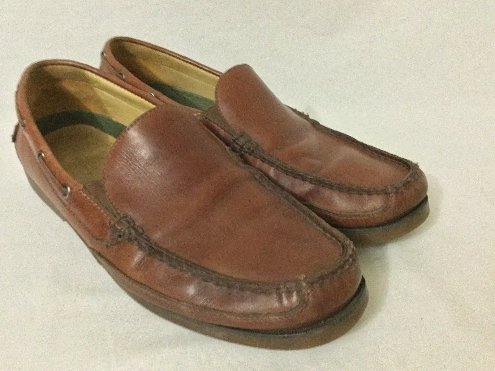Tommy Bahama Naples Driver Smooth Tan Pelle Driving Loafers Taglia 11 M