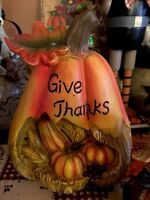 Thanksgiving Turkey Pumpkin Give Thanks Harvest Fall Table Top Centerpiece 3d