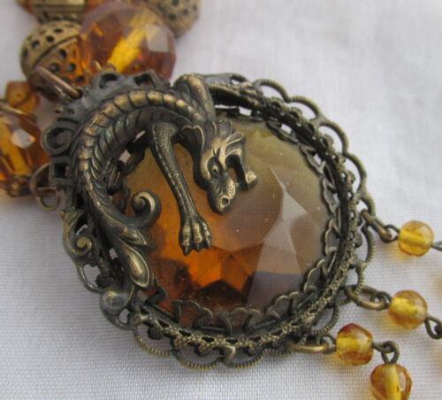 Vintage Czech Max Nieger Brass&Amber Glass Beaded