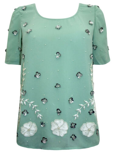 NEW Next MINT Embellished Scallop Chiffon Blouse Top sizes 16 18 20 22 RRP £45