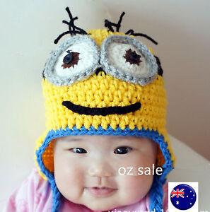 26a33857012 Kids Baby Boy Girl Warm Knitting Minions crochet Beanie Hat Cap ...