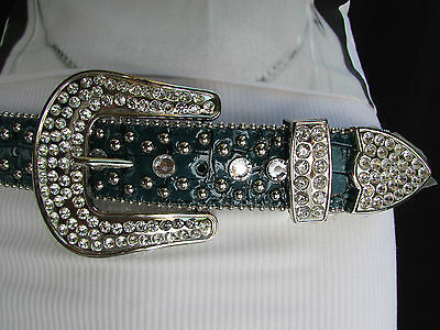 New Women Turquiose Blue Leather Western Boot Horseshoe Belt Silver Buckle S / M