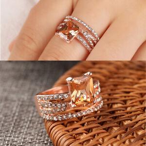Frauen-naturlichen-Morganit-Diamantring-funkelnde-Geschenk-Schmuck-Ringe-DE