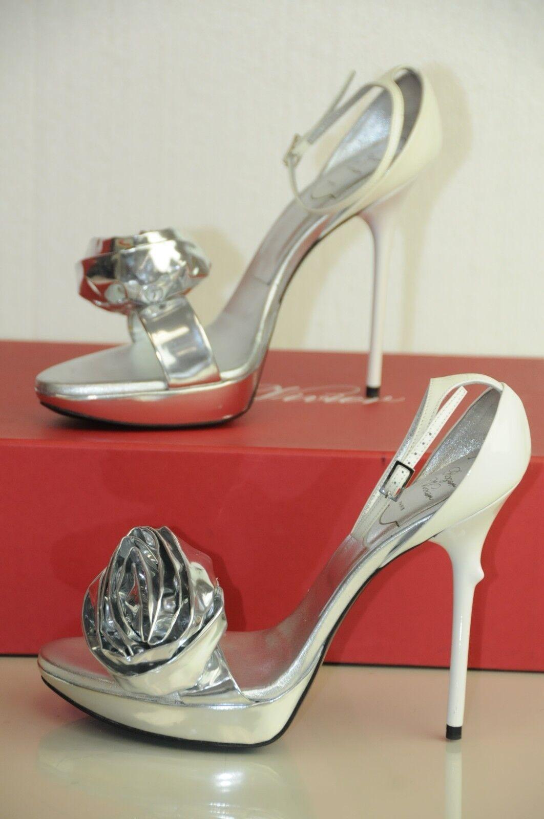 Neu Roger Vivier Rosa n Roll Silber Weiß Sandalen Schuhe 39.5 Selten Hochzeit