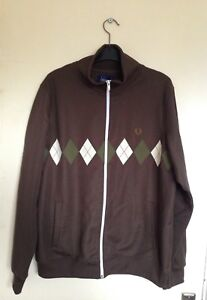 Vintage Brown Size Check Men's L Diamond Fred Perry Jacket Pattern Tracksuit d7f7OzcF