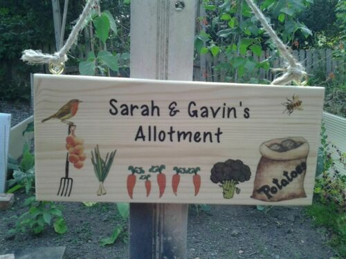 Handmade Personalised Garden Allotment Plaque Custom Made Hanging Sign.Gift