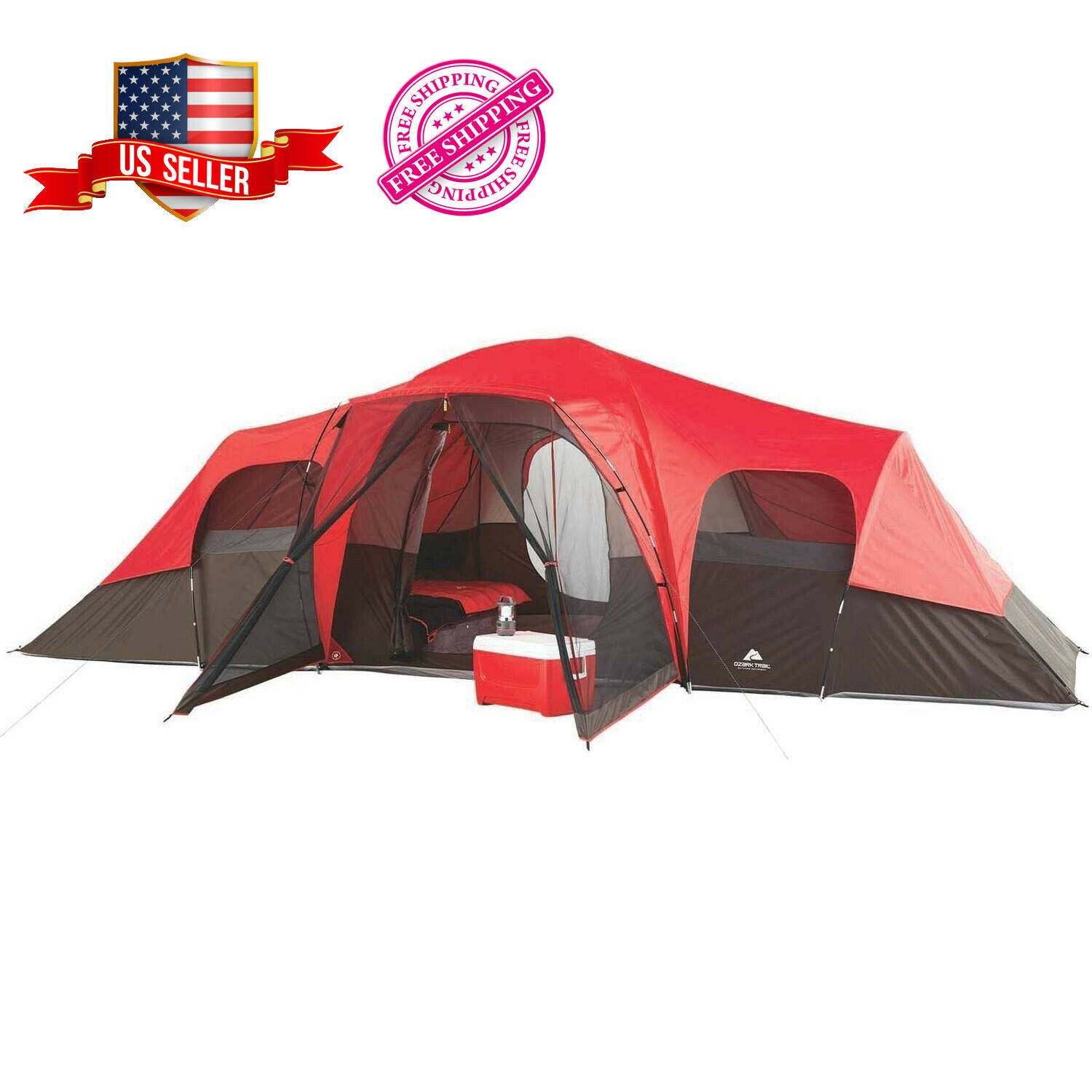 Family Camping Tent Waterproof Outdoor Large 10 Person Sheet Floor Room Dividers