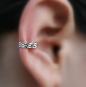 Details About Ear Cuff Fake Piercing Conch Cuff Cartilage Cuff Textured Sterling Silver