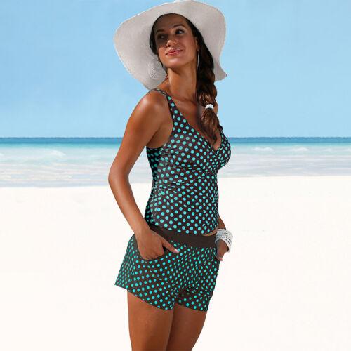 Bademode Frauen Damen Tankini Set Bikinihose Shorts Gepunktet Badeanzug Gr.34-42